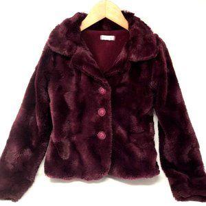 PUMPKIN PATCH Faux Fur Purple Plush Coat Sz 7